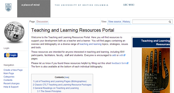 Teaching and Learning Resources Portal Screenshot