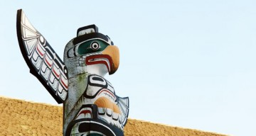 Victory Through Honour totem pole, in front of Brock Hall