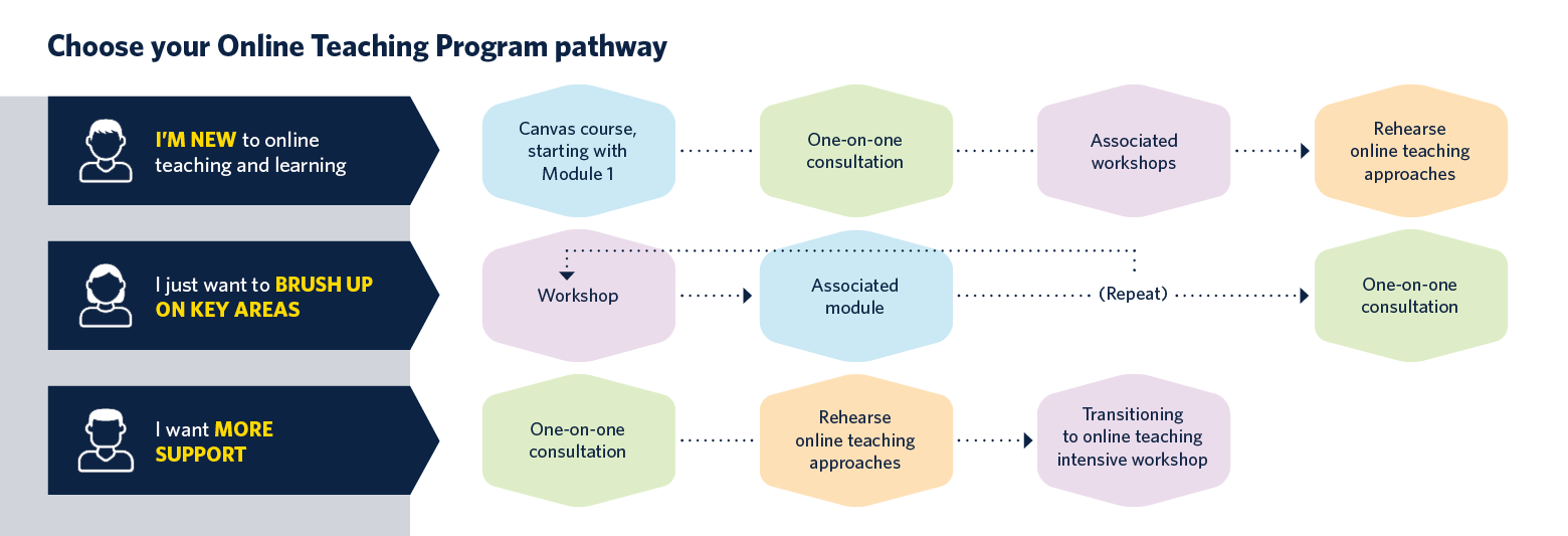 Flow-chart depicting pathways different people might take through the elements of the Online Teaching Program, including workshops, Canvas modules, one-on-one consultations and opportunities to rehearse online teaching approaches.